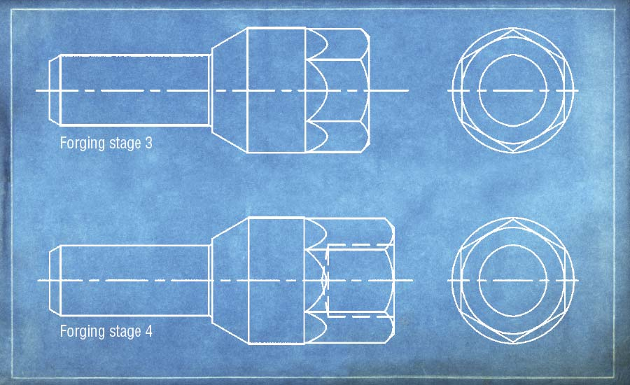 Рис.1. Третья и четвертая стадии ковки колёсного болта М12